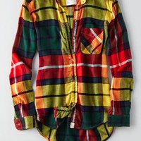 AEO Women's Canyon Boyfriend Flannel (Yellow)