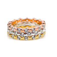 Gold, Rose Gold and Silver Tri-tone Stackable Ring Set