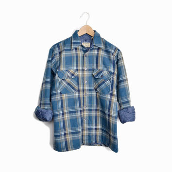 Vintage Blue Plaid Lined Shirt Jacket - men's small