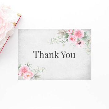 Chic Watercolor Floral Thank You Card, Printable Thank You Card, Peonies Thank You Card, Printable Floral Wedding Thank You Note, Digital