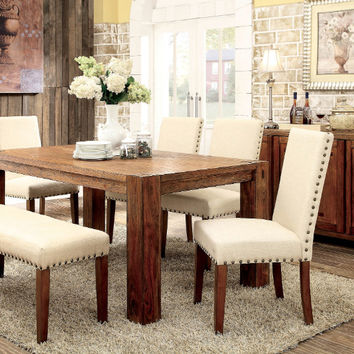 Furniture of america CM3603T-6PC-3533 6 pc frontier dark oak finish wood rustic block style dining table set with bench