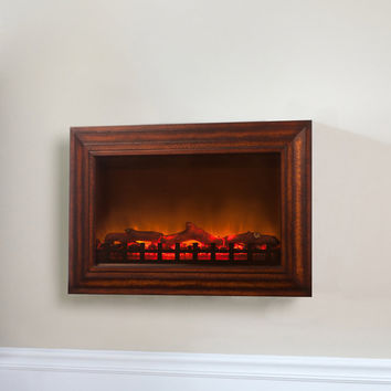 Wood Wall Mounted Electric Fireplace at Brookstone—Buy Now!