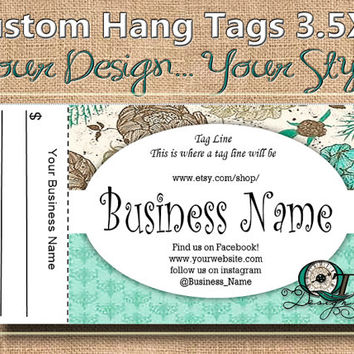 Chic Floral Print Custom Hang Tag Business Card Style Printing  Matte  3.5 x 2 inch cards Design services  Sales Tags Shop Tags