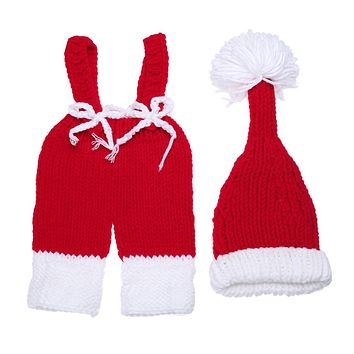 Baby Photography Props Newborn Kids Hat and Pants Clothes Set Infant Crochet Knit Costume