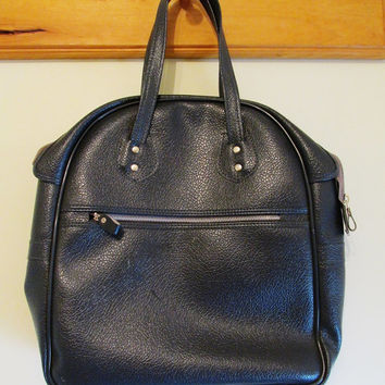 Women's Vintage 60's Navy Blue Bowling Bag Handbag
