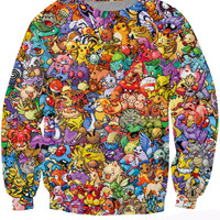Original 150 Pokemon 8-Bit Collage Crewneck Sweatshirt Women Men 90s video game and anime Sweats Hoodies jumper Fashion