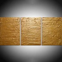 """ARTFINDER: - Solid Gold - triptych 3 panel large wall decor art acrylic three part impasto effect 3 panel on canvas wall abstract 54 x 24 """" by Stuart Wright - """" Solid Gold """" extra large triptych 3 piece imp..."""