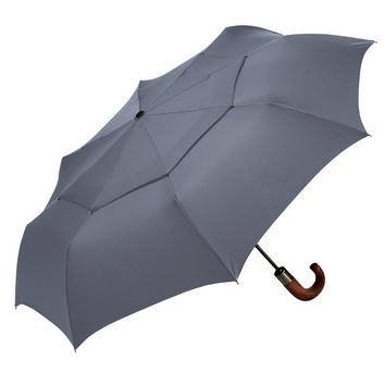 ShedRain WindPro Wood Handled Auto Open and Close Umbrella in Charcoal