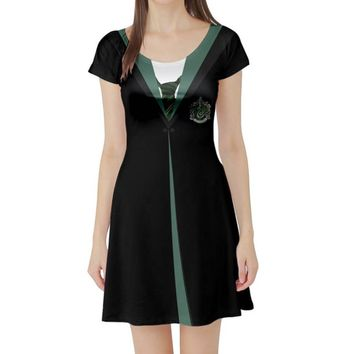 Harry Potter Slytherin Inspired Short Sleeve Skater Dress