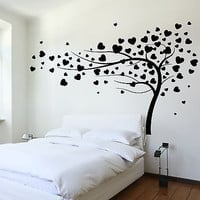 Wall Decal Tree Branch Hearts Leafs For Bedroom Vinyl Sticker (z3620)