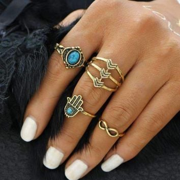Symbolic Collection Boho Midi-Knuckle Rings Set of 4 - Silver or Gold