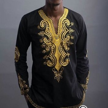 Men's Shirts 2018 African Clothing Dashiki African Ethnic Style Men's Long Sleeve V-Neck Floral Print men shirts Casual Tee Tops