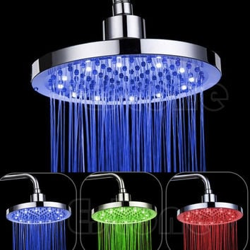 "Free shipping 8"" inch Round Rain Stainless Steel Bathroom RGB LED Light Shower Head-Y102"