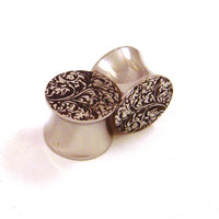 "Patterned 316L Surgical Steel Plugs - Double Flared - 00g 7/16"" (11 mm) 1/2"" (13mm) 9/16"" (14mm) 5/8"" (16mm) Metal Ear Gauges"