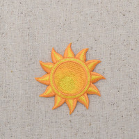 Yellow Sun - Tropical - Summer - Iron on Applique - Embroidered Patch - 696724-A