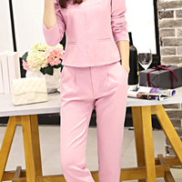 Pink Long Sleeve Blouse and Pencil Pants Twinset