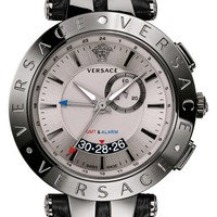 Men's Versace 'V-Race GMT' Round Leather Strap Watch, 46mm