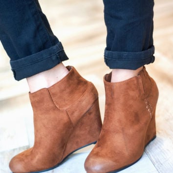 Close Out | Distressed Wedge Bootie | Camel | Shoes