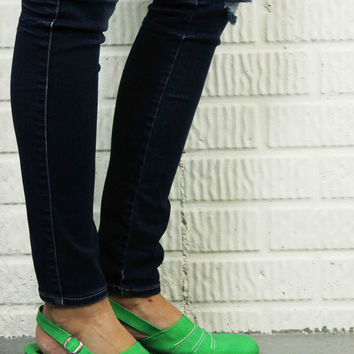 "Vintage Bright Green ""Made In Italy"" Wedge Sandals"