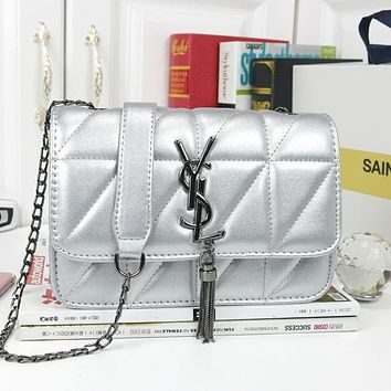YSL tide brand female models wild fashion shoulder bag chain bag Messenger bag Silver