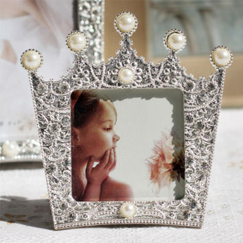 New Fashion Crystal Pearl Crown Home Decor Photo Frame Picture Frame Alloy Metal 3''