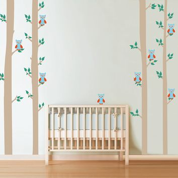 cik1679 Full Color Wall decal bedroom children's Custom Baby Nursery tree nusery decal tree forest owl birds