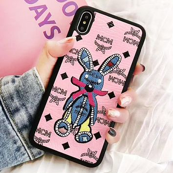 MCM Fashion New Letter Print Embroidery Animal Women Men Protective Cover Phone Case