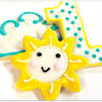 Sun And Clouds Birthday Party  Sugar Cookies First Birthday  Decorated Cookie Favors