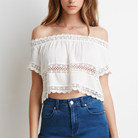 Crocheted Gauze Crop Top