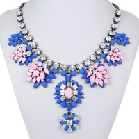 Flower Statement Necklace, Pink w Blue Beaded Necklace, Crystal Bubble Jewelry, Bib Necklace, Party Jewelry-158927436
