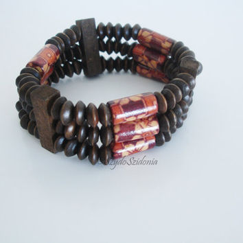 FREE SHIPPING Wood bracelet,handmade jewelry,beaded bracelet