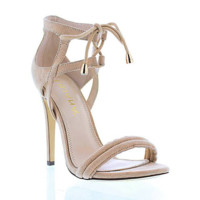 Nude Tassel Party Sling Back Heels