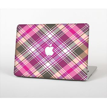 "The Gray & Bright Pink Plaid Layered Pattern V5 Skin Set for the Apple MacBook Pro 13"" with Retina Display"