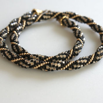 Beaded crochet necklace, black, gold, spiral, for every day, rope necklace