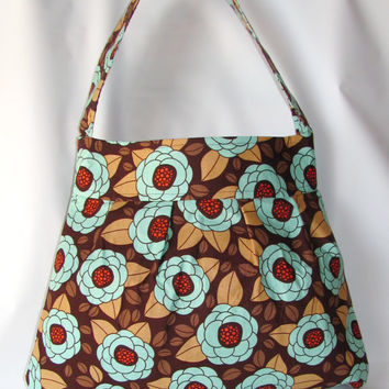 Women Bag, Handmade Shoulder Bag Bloom in Bark, Everyday Bag, Diaper Bag, Travel Bag, Joel Dewberry Fabric Bag, Ready to Ship - Clearance