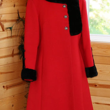 Vintage 1950's Red Stevens Forstmann Fabric Princess Coat