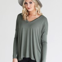 Light Olive PIKO V-Neck Long Sleeve Top