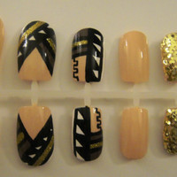 "Custom ""Cleopatra"" Nude Aztec/Tribal Press-On Nails"