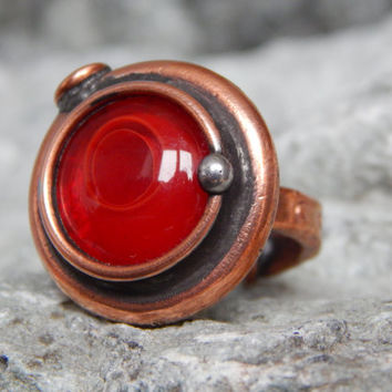 Handmade ring Red magic ring Copper ring Unique handcrafted ring Original gift Custom ring Steampunk ring Gift for girlfriend Gift for mom