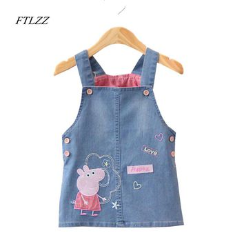 Baby Girls Dress 2017 High Quality Cartoon Peppa Strap Vest Dresses Lovely Children Button Denim Clothing Spring /Summer/Autumn