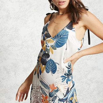 Tropical Self-Tie Cami Dress