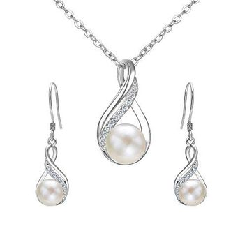 EleQueen 925 Sterling Silver CZ AAA Button Cream Freshwater Cultured Pearl Infinity Bridal Jewelry