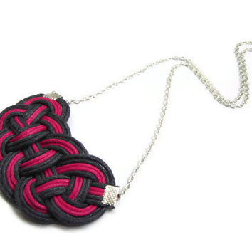 Knot Necklace, Cord Rope Necklace, Pink and Grey, Statement Necklace, Bib Necklace, Nautical, Celtic Knot, Sailor Knot, Love Knot, Chain