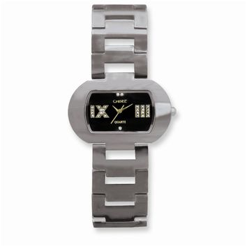 Ladies Chisel Tungsten/Black Oval Dial Watch