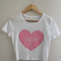 Pink Psycho Heart Graphic Crop Top
