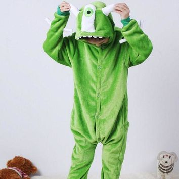 VONE05O Monster University Mike Children Kids Unisex Pajamas  Halloween Christmas Cosplay Costume Animal Onesuit Sleepwear For Boys Girls