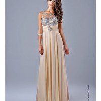 Jeweled Bodice Nude Gown