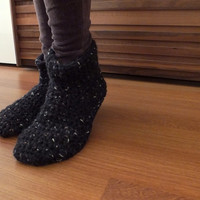 Mother Gift Women Crochet Slippers Wool Slippers Womens Slippers Adult Slippers Knitted Slippers Slipper Socks Knitted Socks Black Slippers