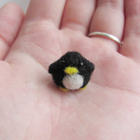 Tiny needle felted penguin by HandmadeByNovember on Etsy