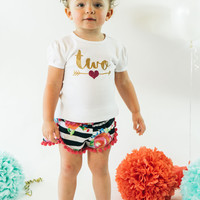 Girls 2nd Birthday Shorts Outfit | Black and White Stripe and Fuchsia Floral Shorts with Hot Pink pom pom trim Gold Two with Arrow
